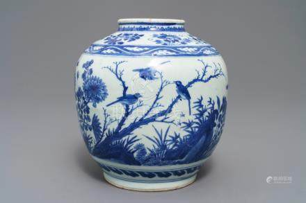 A Chinese blue and white vase with birds among flowers, Wanli