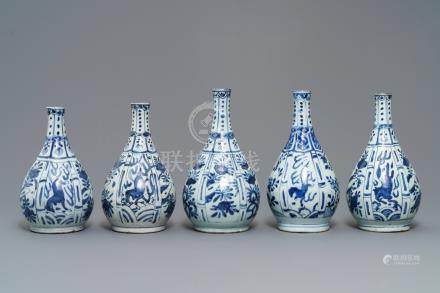 Five Chinese blue and white bottle vases, Wanli