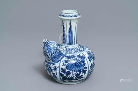 A Chinese blue and white kendi, Wanli