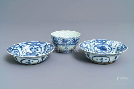 Two Chinese blue and white klapmuts bowls and a 'flaming horse' bowl, Wanli