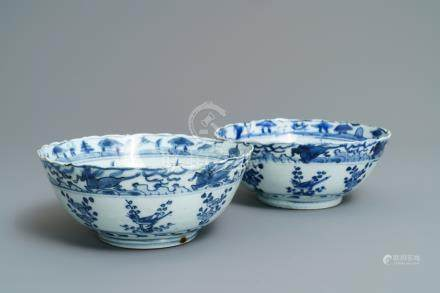 A pair of Chinese blue and white bowls, Wanli