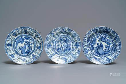 Three Chinese blue and white kraak porcelain 'bird' plates, Wanli