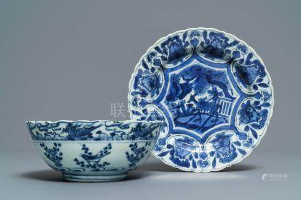 A Chinese blue and white bowl and a kraak porcelain 'deer' plate, Wanli