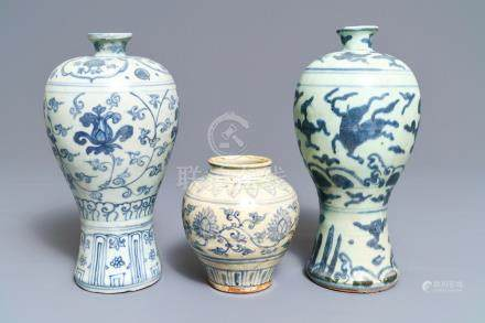 Three Chinese blue and white vases, Ming