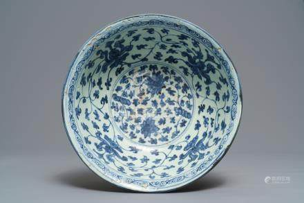 A Chinese blue and white 'peony scroll' bowl, Ming