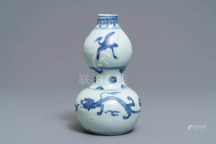 A Chinese blue and white double gourd vase, Ming