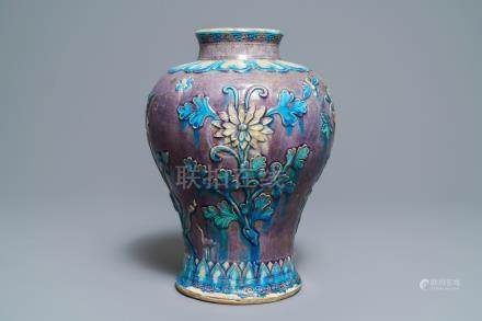 A large Chinese fahua meiping vase with floral design, Ming