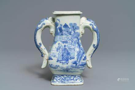 A Chinese blue and white chilong-handled vase, 17/18th C.