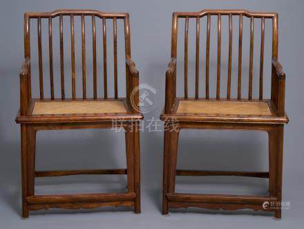 A pair of Chinese huanghuali wood chairs, Republic, 20th C.