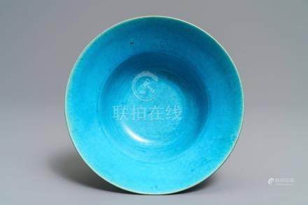 A Chinese monochrome turquoise-glazed bowl, Kangxi