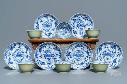 Six Chinese celadon and blue and white 'crabs and fish' cups and saucers, Kangxi