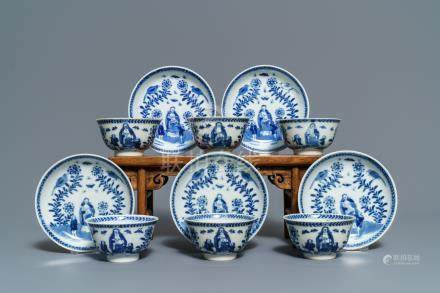 Six Chinese blue and white 'mother and child' cups and five saucers, Kangxi
