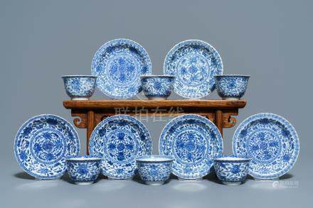 Six Chinese blue and white cups and saucers with floral design, Kangxi