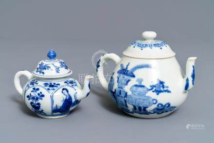 Two Chinese blue and white teapots and covers, Jiajing and Yu marks, Kangxi