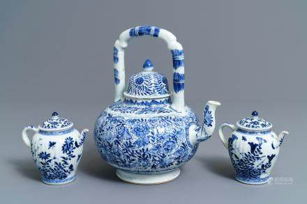 Three Chinese blue and white teapots and covers, Kangxi