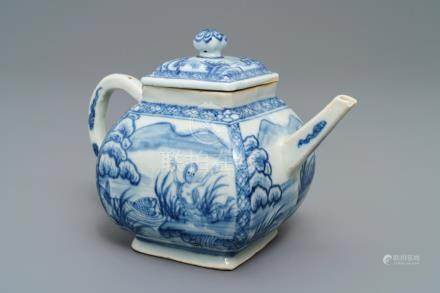 A Chinese blue and white square teapot with nymphs and fish, Kangxi/Qianlong