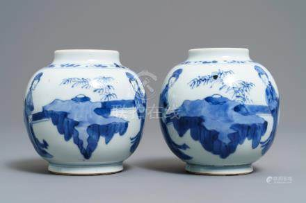 A pair of small Chinese blue and white 'Long Eliza' jars, Kangxi