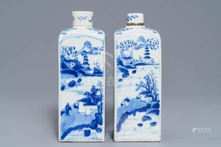 Two Chinese blue and white square tea caddies and covers, Kangxi