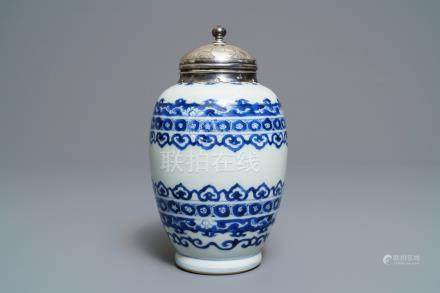 A Chinese silver-mounted blue and white tea caddy, Kangxi