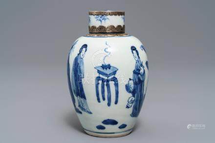 A Chinese silver-mounted blue and white tea caddy and cover, Kangxi