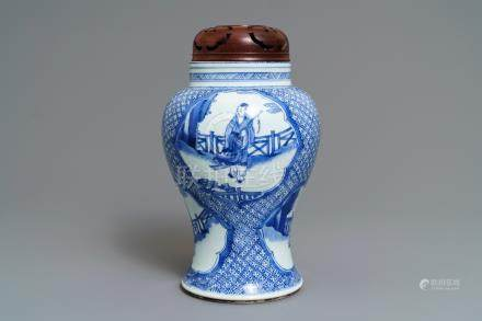 A Chinese blue and white 'immortals' vase, Kangxi