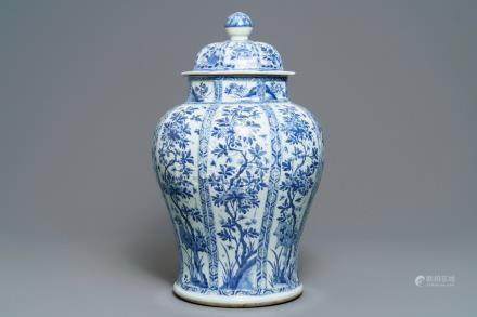 A large Chinese blue and white baluster jar and cover with floral panels, Kangxi