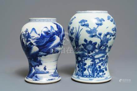 Two Chinese blue and white vases with landscapes and birds among flowers, Kangxi