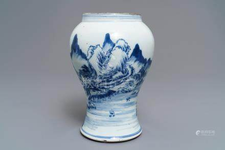 A fine Chinese blue and white landscape vase, Kangxi