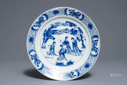 A Chinese blue and white dish with 'Long Eliza' playing music, Kangxi