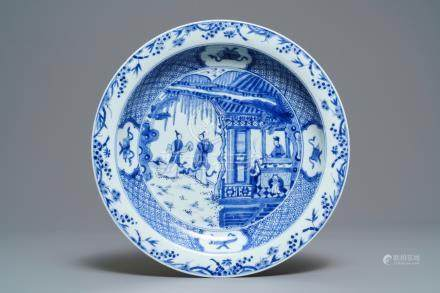 A Chinese blue and white 'Romance of the Western chamber' dish, Kangxi/Yongzheng