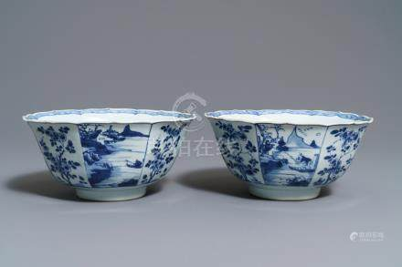 A pair of Chinese blue and white octagonal bowls, Kangxi