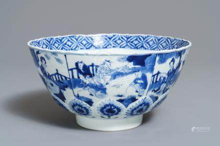 A Chinese blue and white bowl, marked 'Qi Yu bao ding zhi zhen', Kangxi