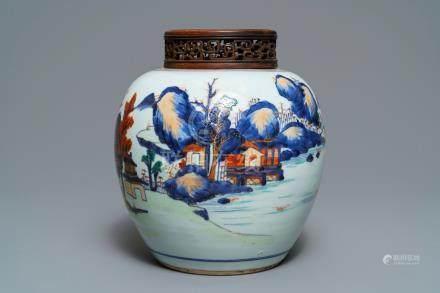 A Chinese Imari-style landscape jar, Kangxi