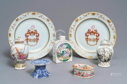 A varied collection of Chinese blue and white and famille rose export porcelain, Kangxi/Qianlong