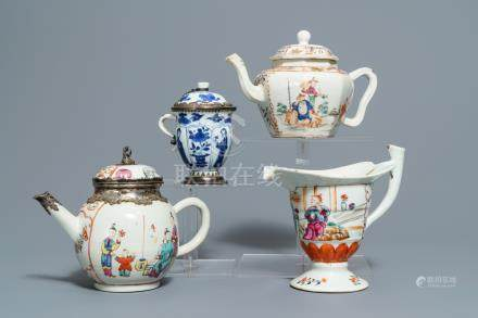 Four Chinese famille rose and blue and white jugs and teapots, Kangxi/Qianlong