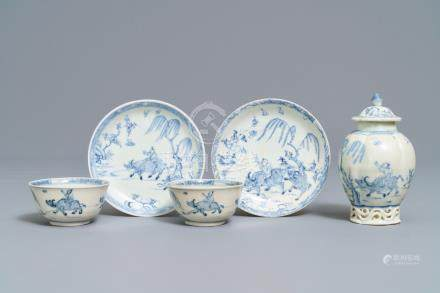 A Chinese blue and white tea caddy and a pair of cups and saucers, Ca Mau wreck, Yongzheng