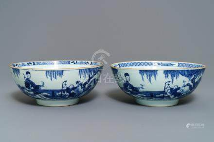 A pair of Chinese blue and white bowls, Yongzheng/Qianlong