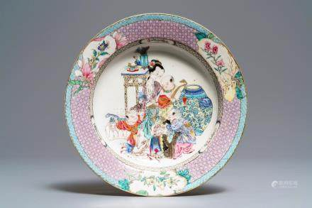 A fine Chinese famille rose 'ruby back' eggshell plate with a lady with three boys, Yongzheng