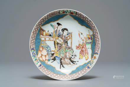 A fine small Chinese famille rose eggshell plate, Yongzheng