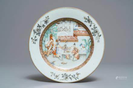 A fine Chinese famille rose plate with ladies in a garden, Yongzheng