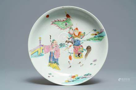 A Chinese famille rose dish with warriors on horseback, Yongzheng