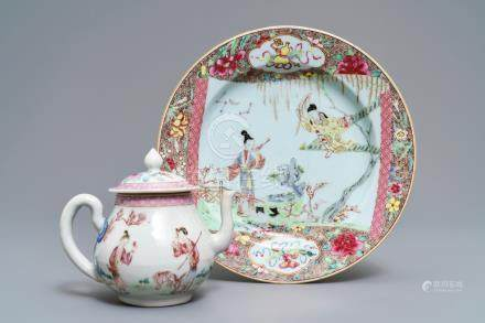 A fine Chinese famille rose teapot and a 'Romance of the Western Chamber' plate, Yongzheng/Qianlong