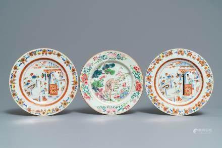 Three Chinese famille rose plates, Yongzheng/Qianlong
