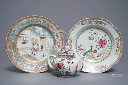 Two fine Chinese famille rose plates and a teapot and cover, Yongzheng/Qianlong
