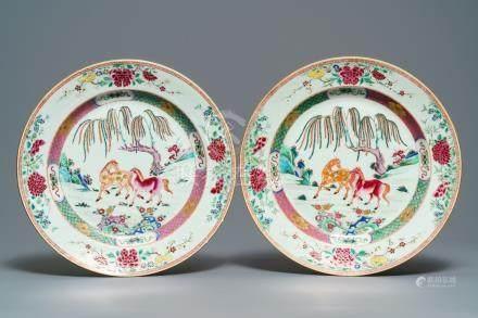 A pair of Chinese famille rose 'horse' dishes, Yongzheng/Qianlong