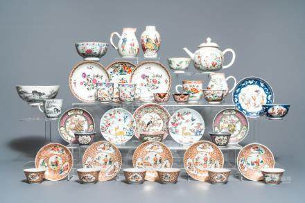 A collection of diverse Chinese famille rose and grisaille porcelain, Yongzheng/Qianlong