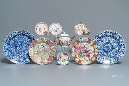 A fine collection of Chinese blue and white and famille rose porcelain wares, Kangxi/Qianlong