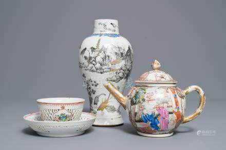 A Chinese grisaille vase, a famille rose 'mandarin' teapot and a reticulated cup on saucer, Yongzheng/Qianlong