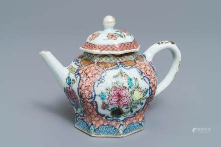 An octagonal Chinese famille rose teapot and cover, Yongzheng