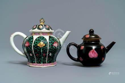 Two Chinese famille noire teapots and covers, Yongzheng/Qianlong